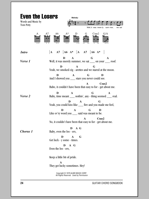Even The Losers (Guitar Chords/Lyrics)