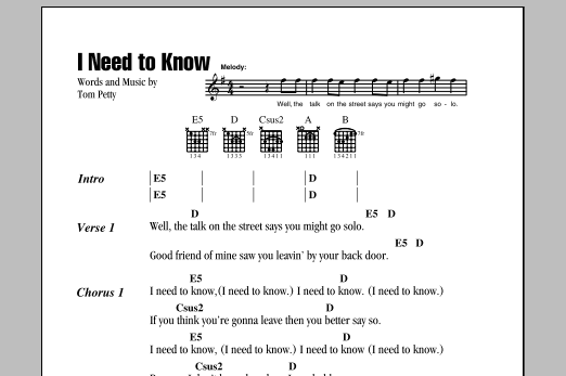 I Need To Know Sheet Music