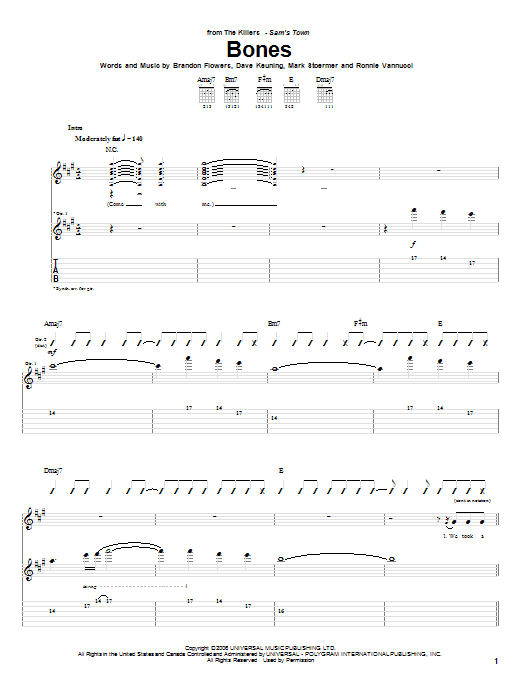 Tablature guitare Bones de The Killers - Tablature Guitare