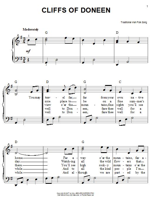 Partition piano Cliffs Of Doneen de Traditional Irish Folk Song - Piano Facile