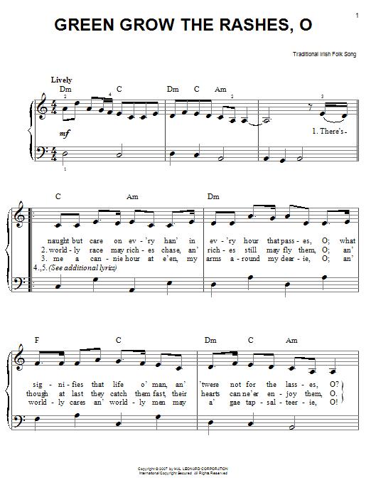Partition piano Green Grow The Rushes, O de Traditional Irish Folk Song - Piano Facile