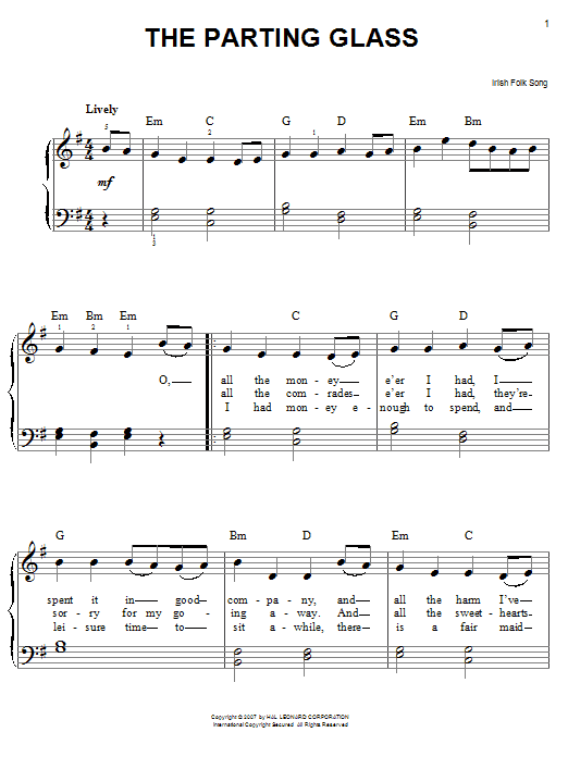 Partition piano The Parting Glass de Traditional Irish Folk Song - Piano Facile