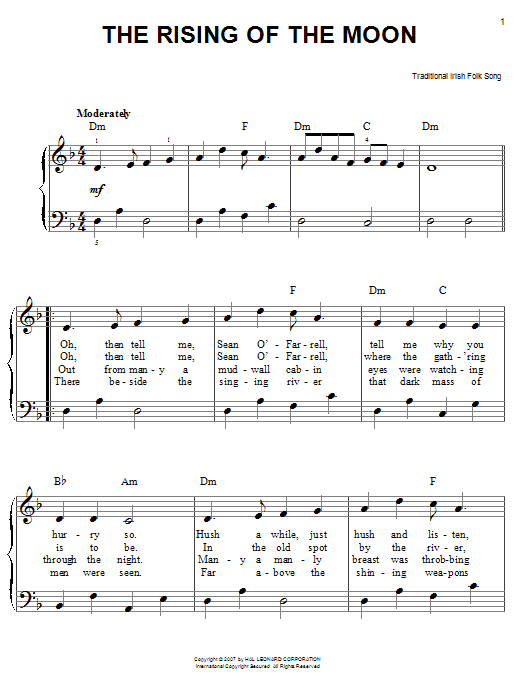 The Rising Of The Moon Sheet Music