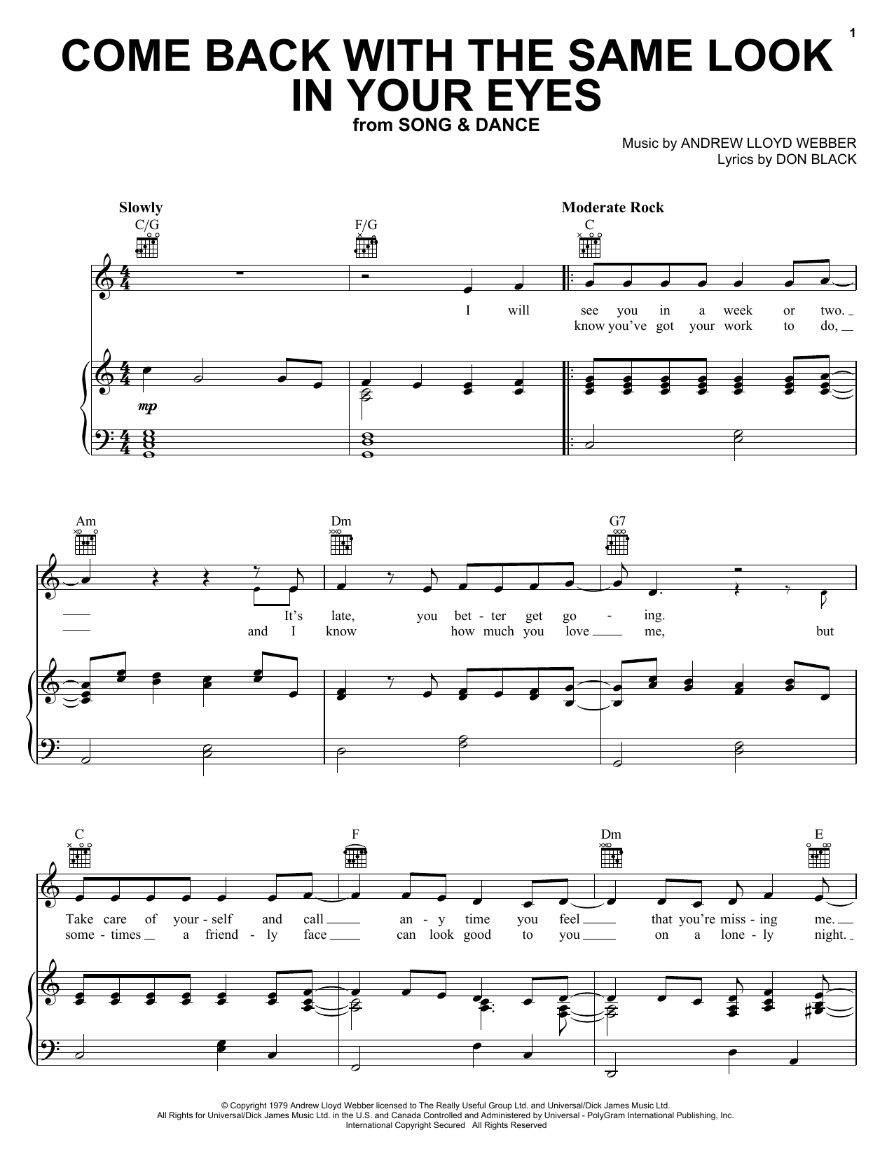 Come Back With The Same Look In Your Eyes Sheet Music