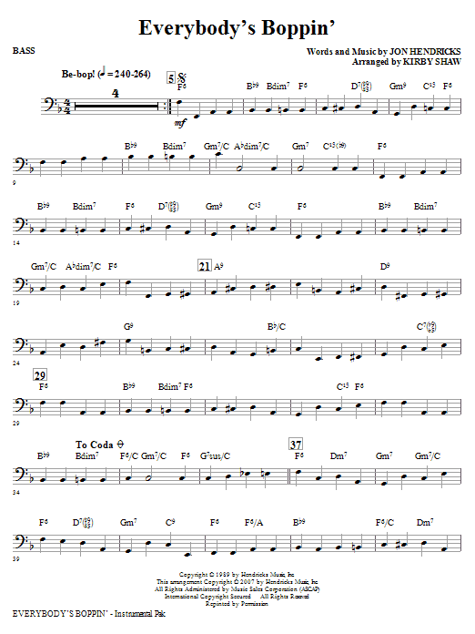Everybody's Boppin' - Bass (Choir Instrumental Pak)