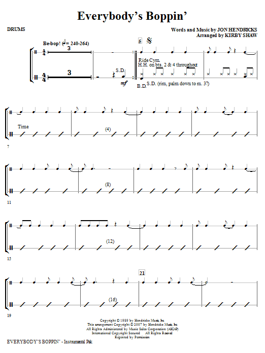 Everybody's Boppin' - Drums Sheet Music