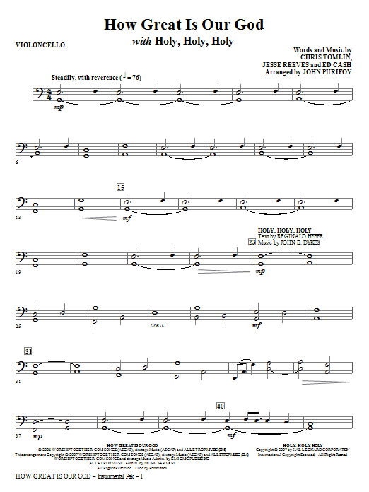 How Great Is Our God with Holy, Holy, Holy - Cello Sheet Music
