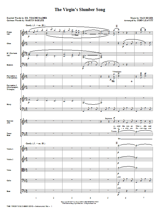 The Virgin's Slumber Song (COMPLETE) sheet music for orchestra/band (chamber ensemble) by John Leavitt and Max Reger. Score Image Preview.