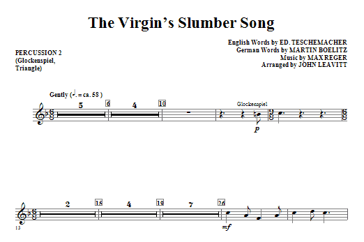 The Virgin's Slumber Song - Percussion 2 Sheet Music