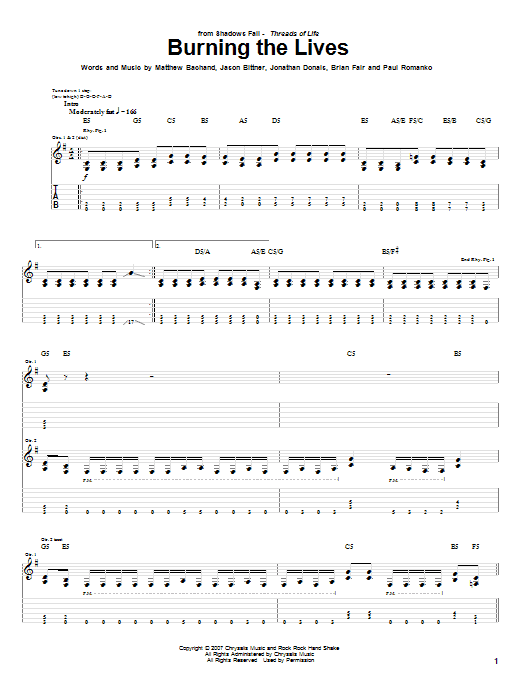 Tablature guitare Burning The Lives de Shadows Fall - Tablature Guitare