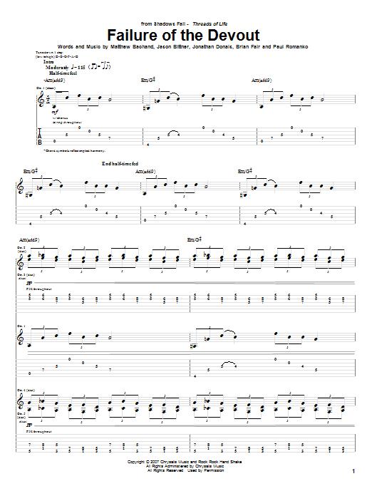 Tablature guitare Failure Of The Devout de Shadows Fall - Tablature Guitare