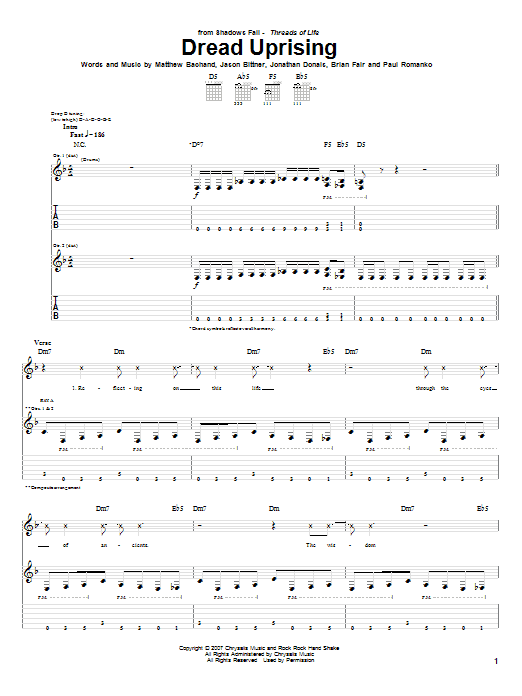 Tablature guitare Dread Uprising de Shadows Fall - Tablature Guitare