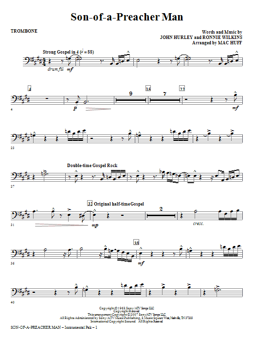 Son-of-a-Preacher Man - Trombone Sheet Music
