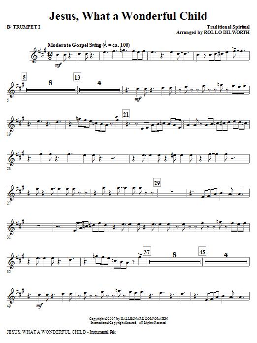 Jesus, What A Wonderful Child - Bb Trumpet 1 Sheet Music