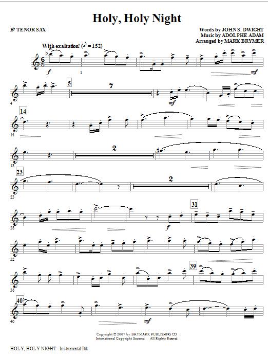 Holy, Holy Night - Tenor Sax (Choir Instrumental Pak)