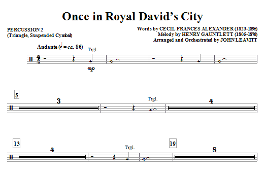 Once in Royal David's City - Percussion 2 Sheet Music