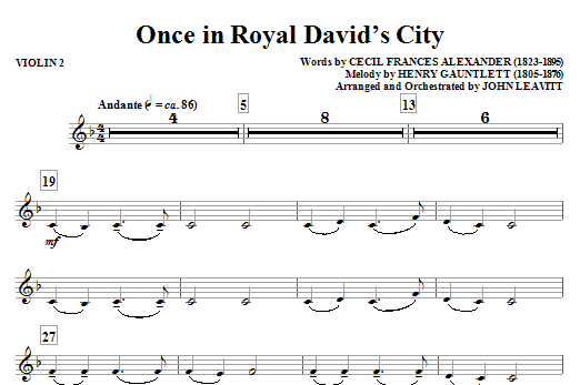 Once in Royal David's City - Violin 2 Sheet Music