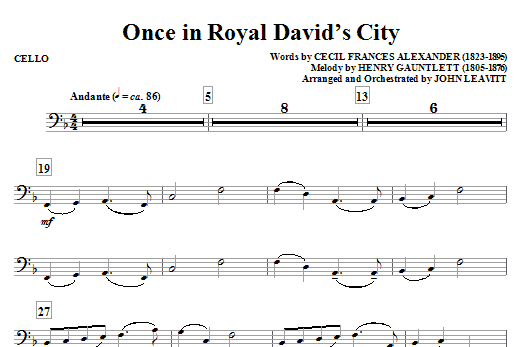 Once in Royal David's City - Cello Sheet Music