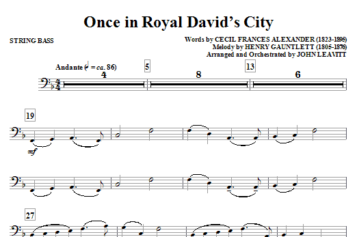 Once in Royal David's City - String Bass Sheet Music