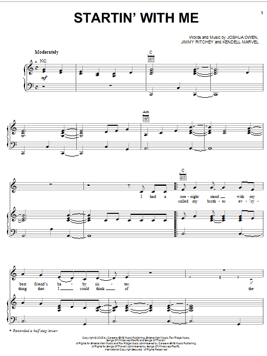 Startin' With Me Sheet Music