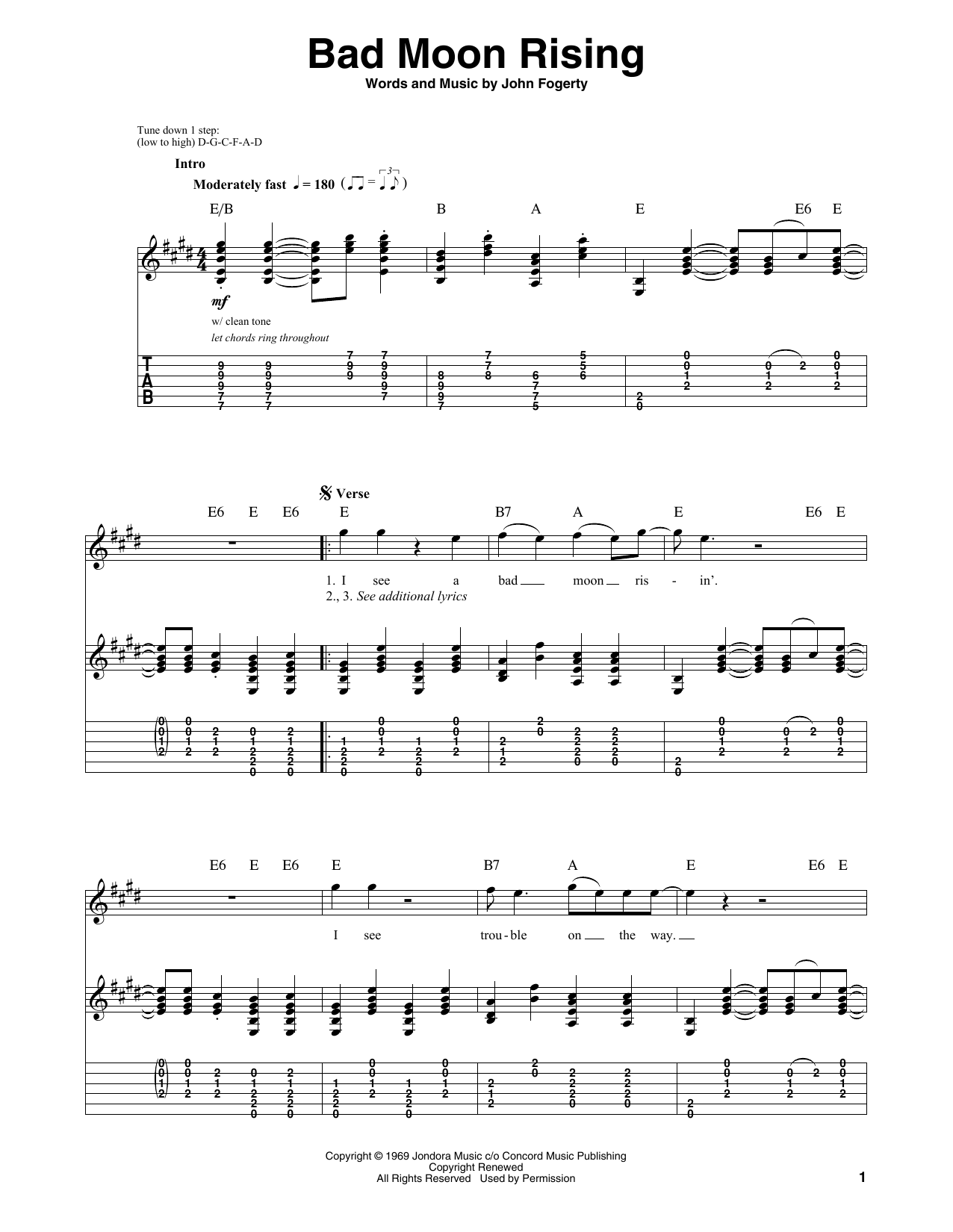 Bad Moon Rising sheet music by Creedence Clearwater Revival (Guitar Tab Play-Along u2013 58919)