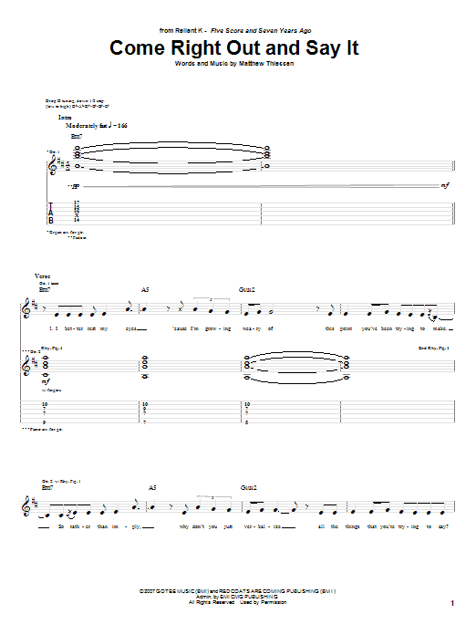 Come Right Out And Say It (Guitar Tab)
