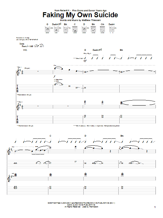 Faking My Own Suicide Sheet Music