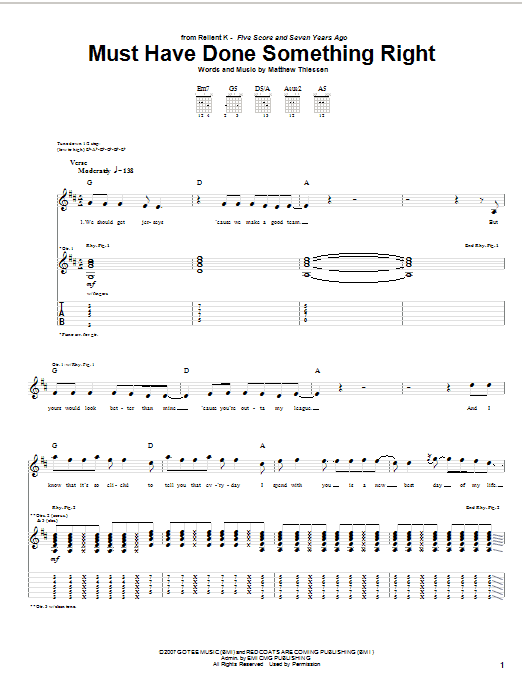 Must Have Done Something Right Guitar Tab By Relient K Guitar Tab