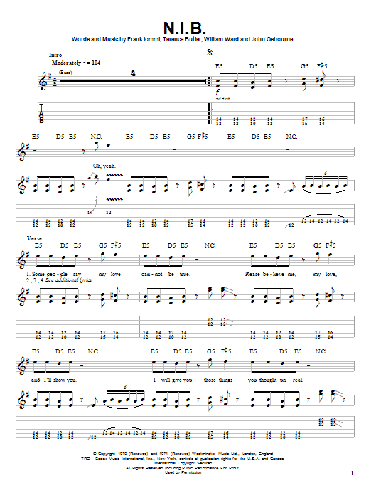 Tablature guitare N.I.B. de Black Sabbath - Playback Guitare