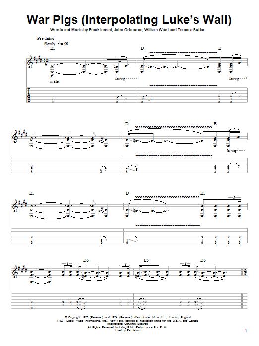 War Pigs (Interpolating Luke's Wall) (Guitar Tab (Single Guitar))