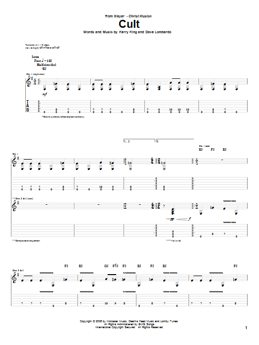 Tablature guitare Cult de Slayer - Tablature Guitare