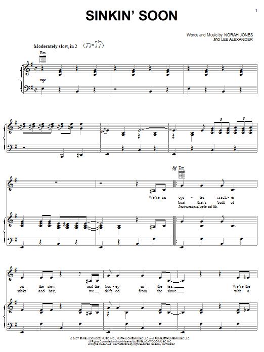 Partition piano Sinkin' Soon de Norah Jones - Piano Voix Guitare (Mélodie Main Droite)