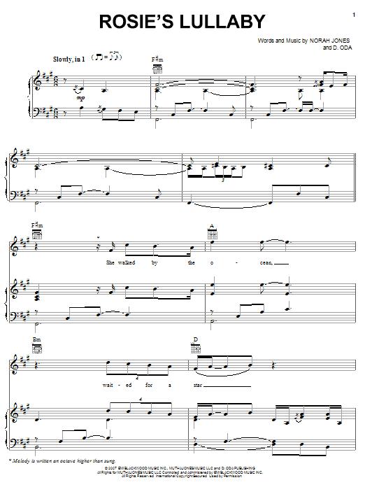Partition piano Rosie's Lullaby de Norah Jones - Piano Voix Guitare (Mélodie Main Droite)