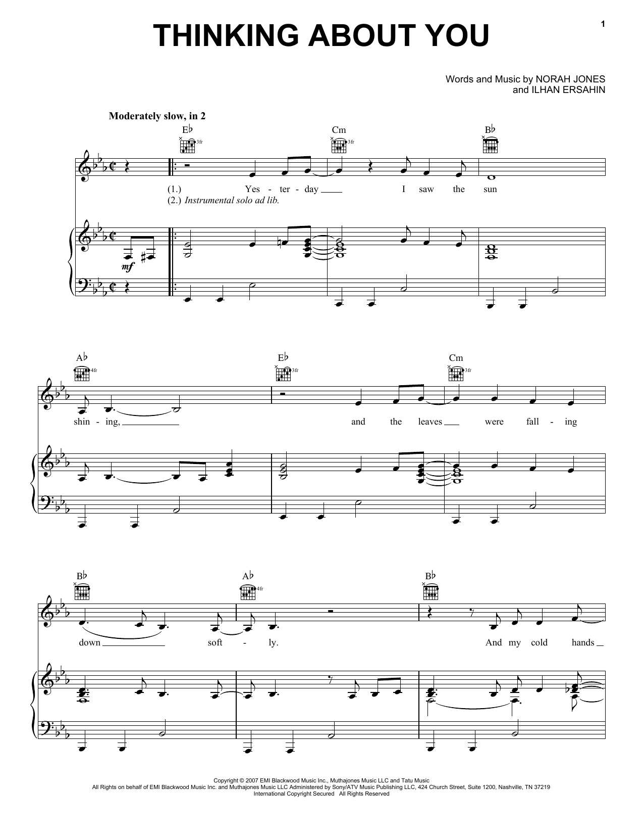 Thinking About You Sheet Music