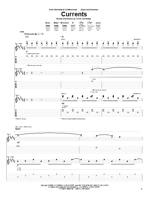 Currents Sheet Music