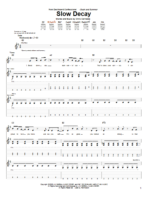 Slow Decay Sheet Music