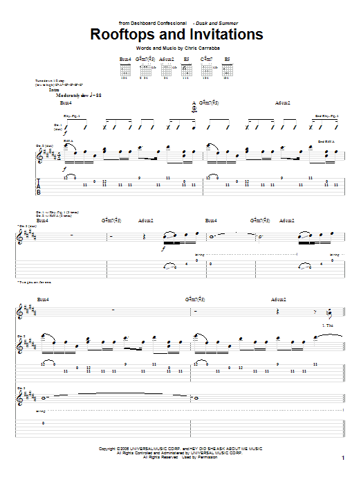 Tablature guitare Rooftops And Invitations de Dashboard Confessional - Tablature Guitare