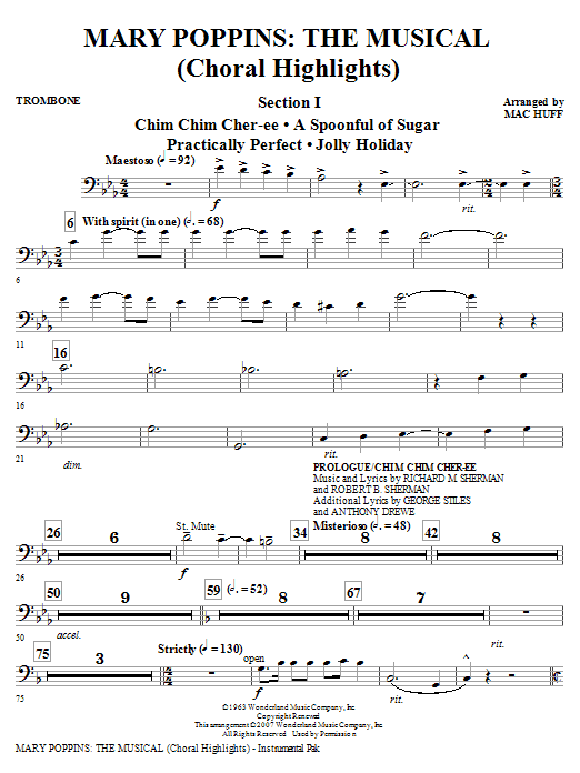 Mary Poppins: The Musical - Trombone Sheet Music