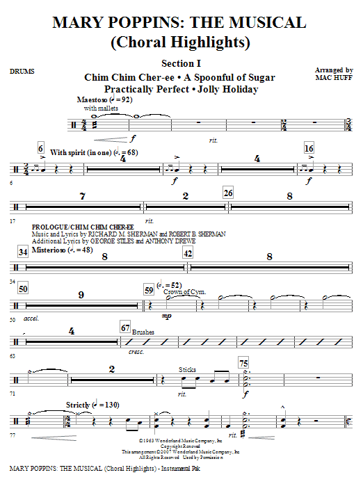 Mary Poppins: The Musical - Drums Sheet Music