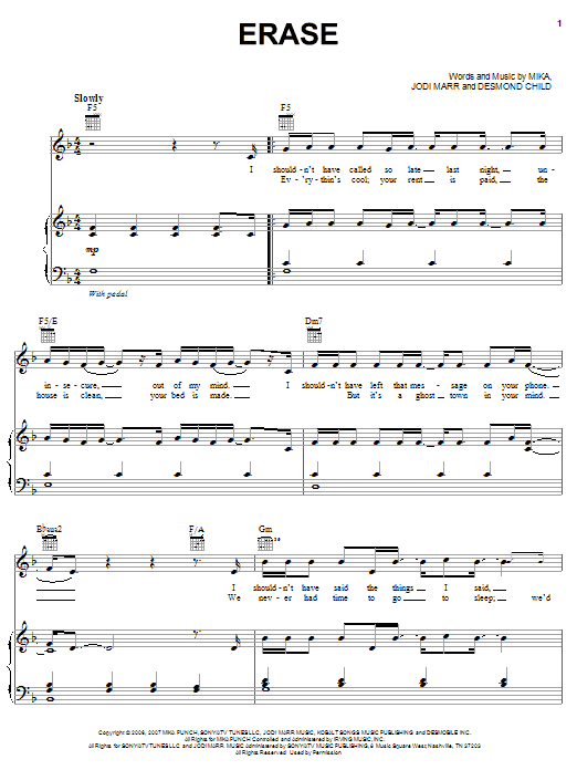 Erase (Piano, Vocal & Guitar (Right-Hand Melody))