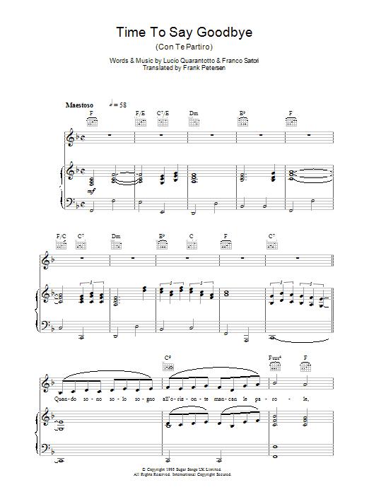 Time To Say Goodbye (Con Te Partiro) (Piano, Vocal & Guitar)