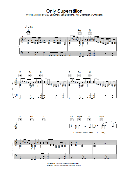 Only Superstition Sheet Music