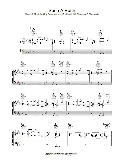 Such A Rush (Piano, Vocal & Guitar)