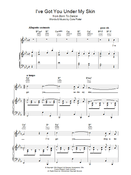 I've Got You Under My Skin (Piano, Vocal & Guitar)