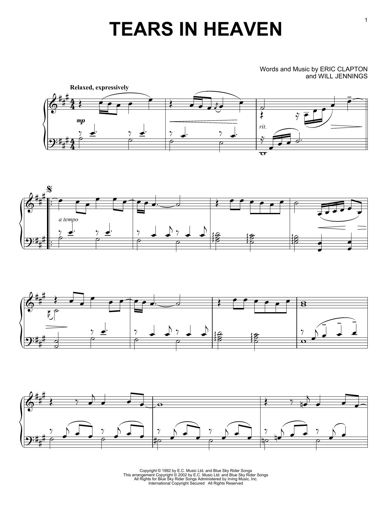 Partition piano Tears In Heaven de Eric Clapton - Piano Solo