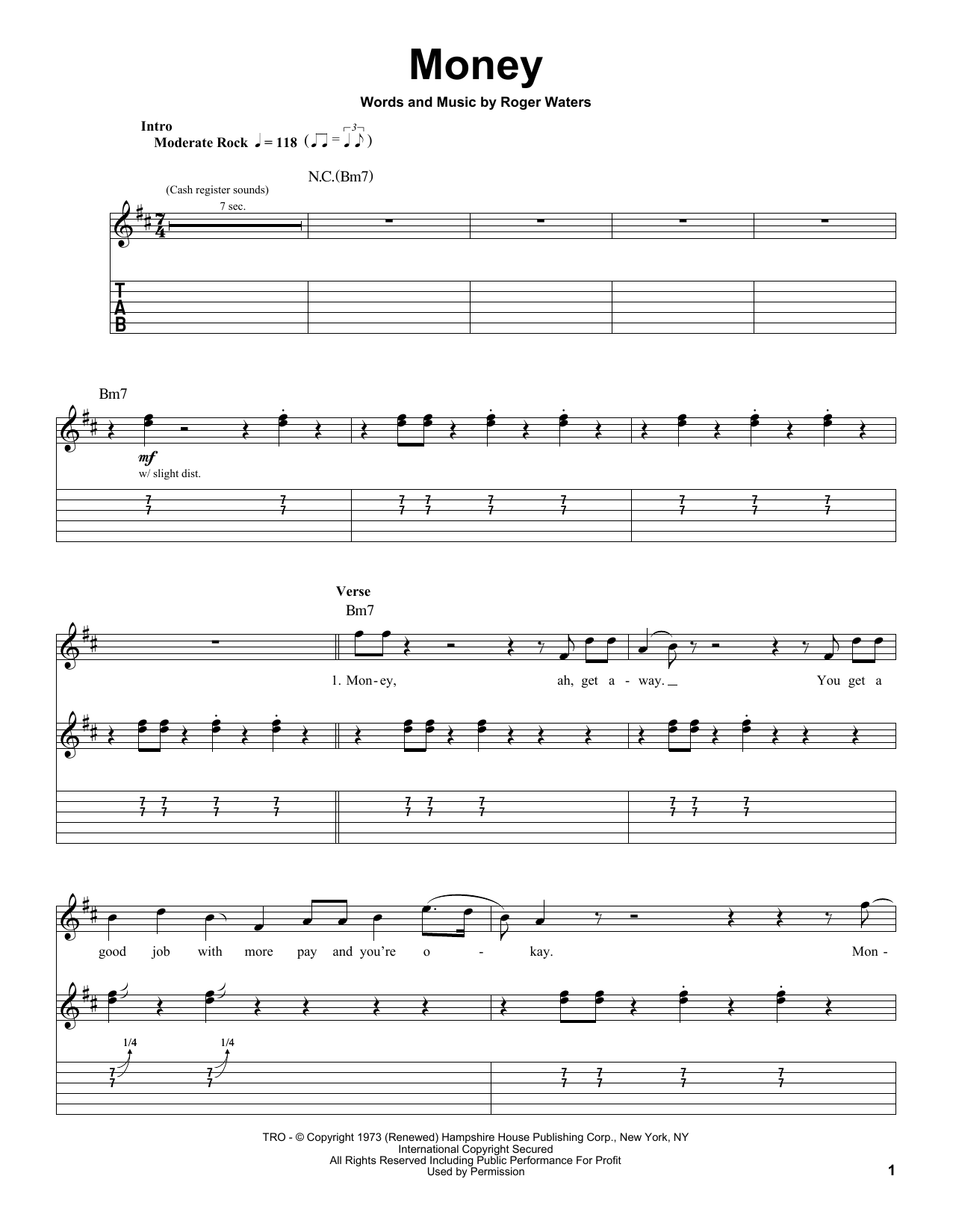 Money (Guitar Tab (Single Guitar))
