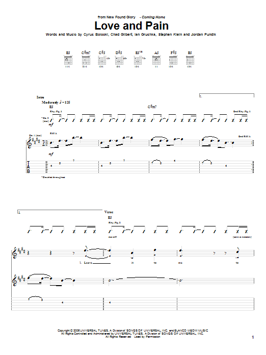 Love And Pain Sheet Music