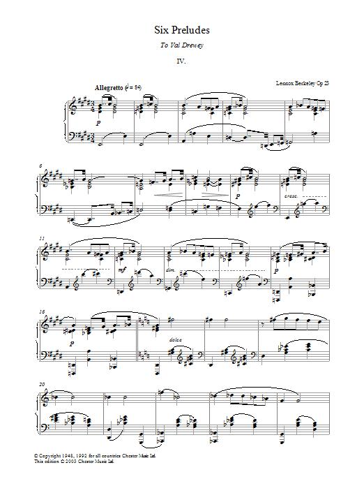 Prelude No. 4 (from Six Preludes) (Piano Solo)