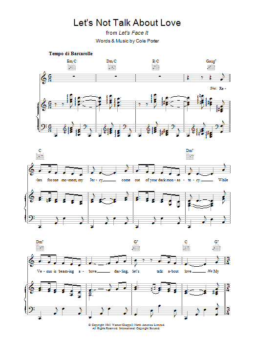 Let's Not Talk About Love Sheet Music