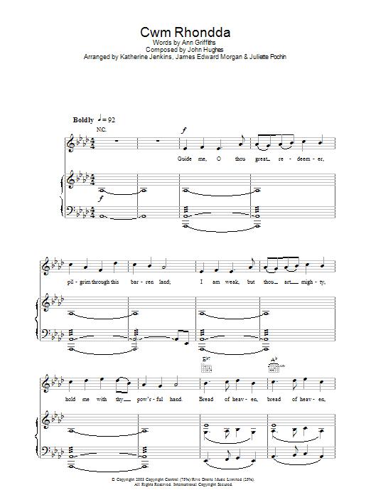 Cwm Rhondda (Piano, Vocal & Guitar)